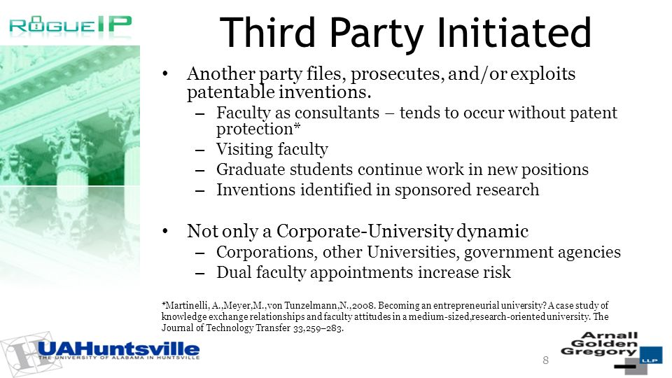 Third Party Initiated Another party files, prosecutes, and/or exploits patentable inventions.
