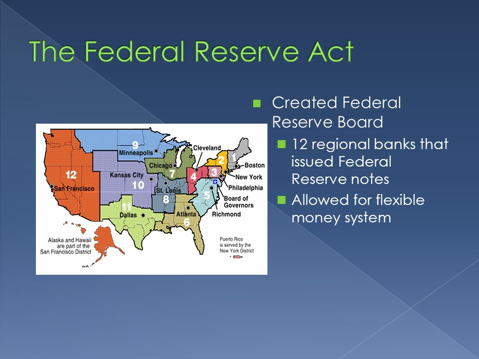 Created Federal Reserve Board 12 regional banks that issued Federal Reserve notes Allowed for flexible money system