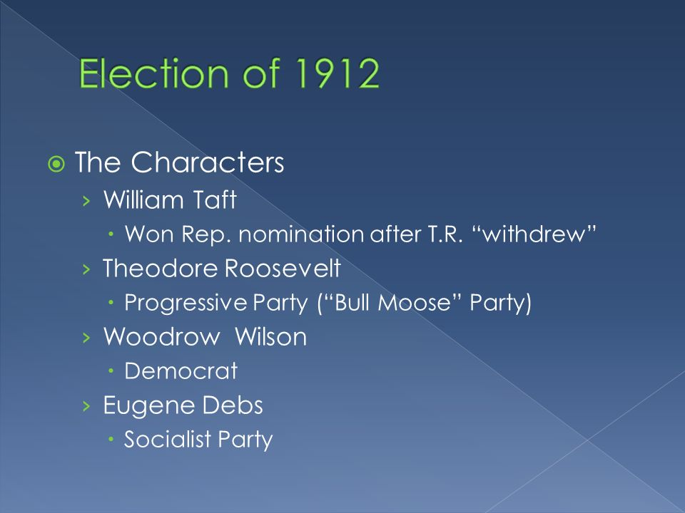 The Characters William Taft Won Rep. nomination after T.R.