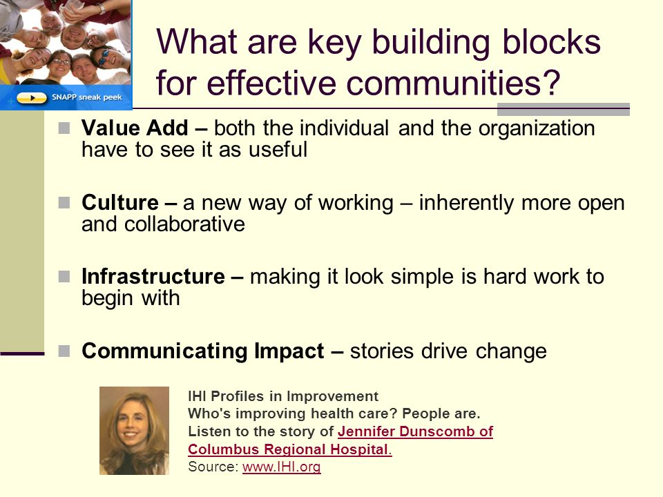 What are key building blocks for effective communities.