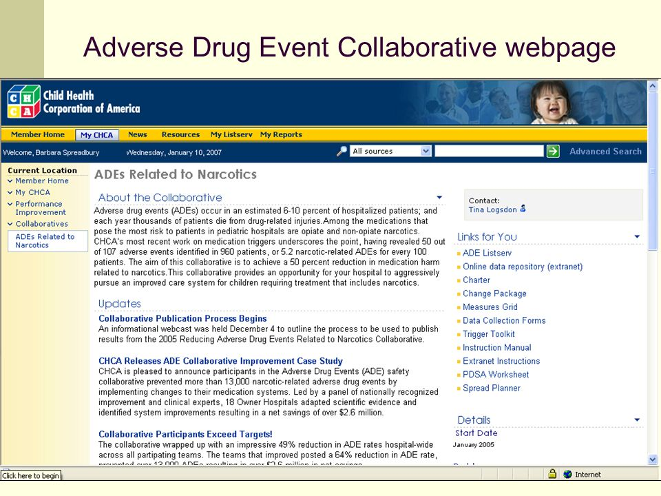 Adverse Drug Event Collaborative webpage