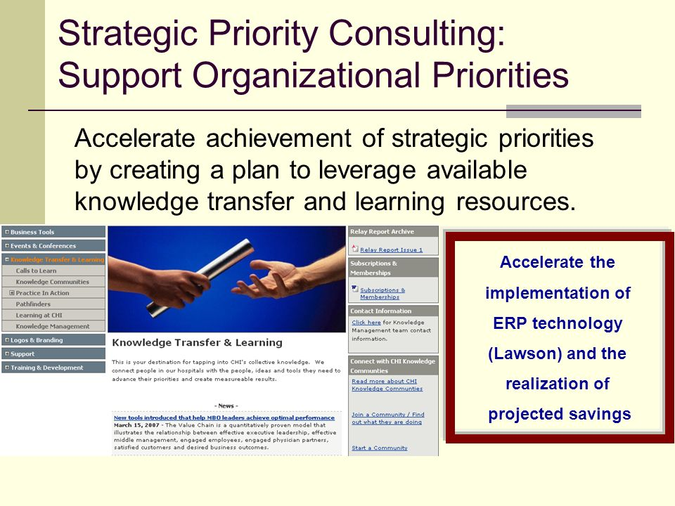 Strategic Priority Consulting: Support Organizational Priorities Accelerate achievement of strategic priorities by creating a plan to leverage available knowledge transfer and learning resources.
