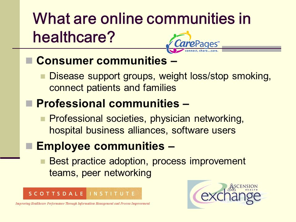 What are online communities in healthcare.