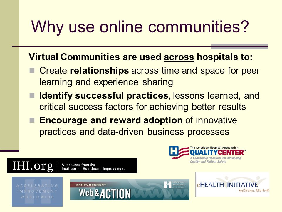 Why use online communities.