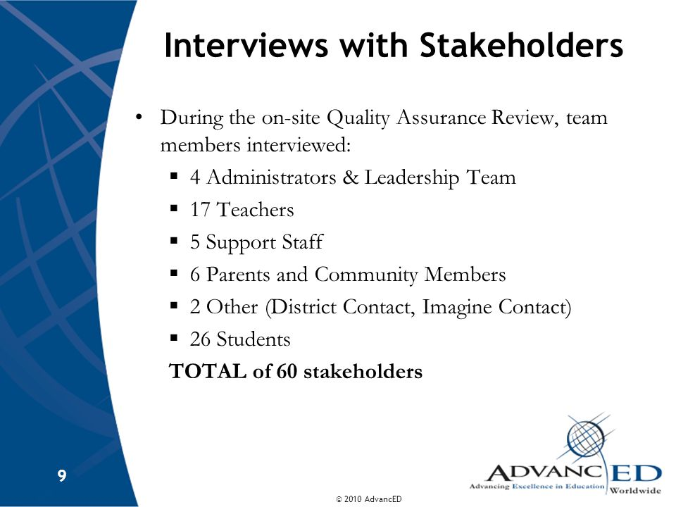 © 2010 AdvancED 9 Interviews with Stakeholders During the on-site Quality Assurance Review, team members interviewed: 4 Administrators & Leadership Team 17 Teachers 5 Support Staff 6 Parents and Community Members 2 Other (District Contact, Imagine Contact) 26 Students TOTAL of 60 stakeholders