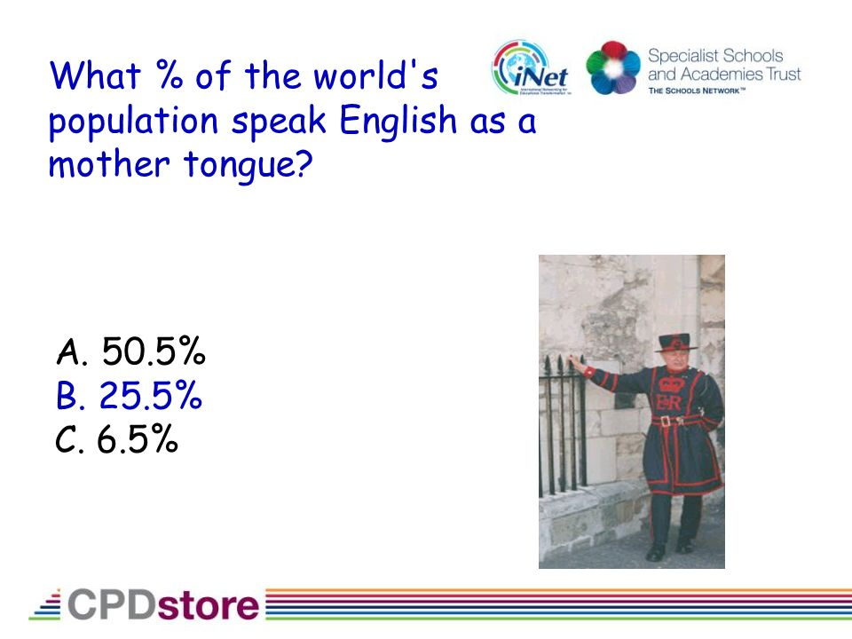What % of the world s population speak English as a mother tongue A. 50.5% B. 25.5% C. 6.5%
