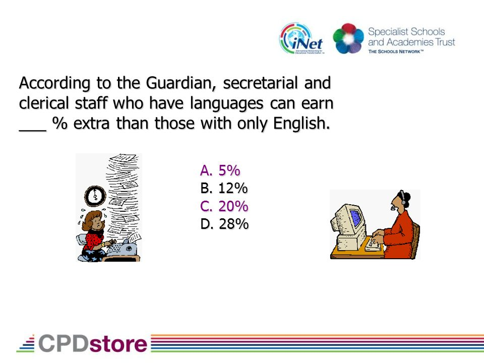 According to the Guardian, secretarial and clerical staff who have languages can earn ___ % extra than those with only English.