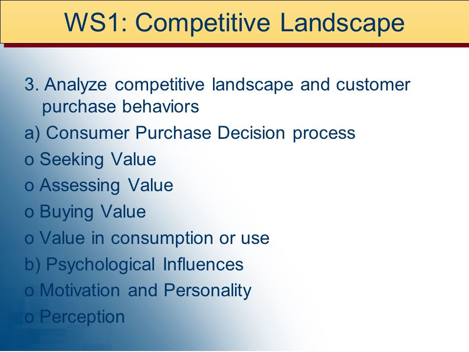 WS1: Competitive Landscape 3.