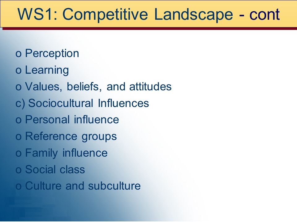 WS1: Competitive Landscape - cont o Perception o Learning o Values, beliefs, and attitudes c) Sociocultural Influences o Personal influence o Reference groups o Family influence o Social class o Culture and subculture