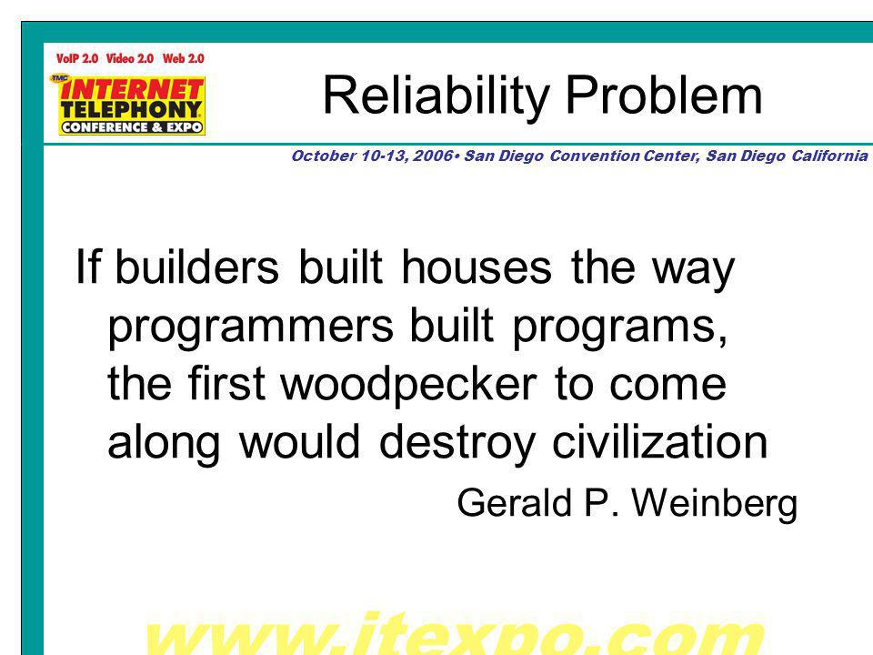 October 10-13, 2006 San Diego Convention Center, San Diego California Reliability Problem If builders built houses the way programmers built programs, the first woodpecker to come along would destroy civilization Gerald P.