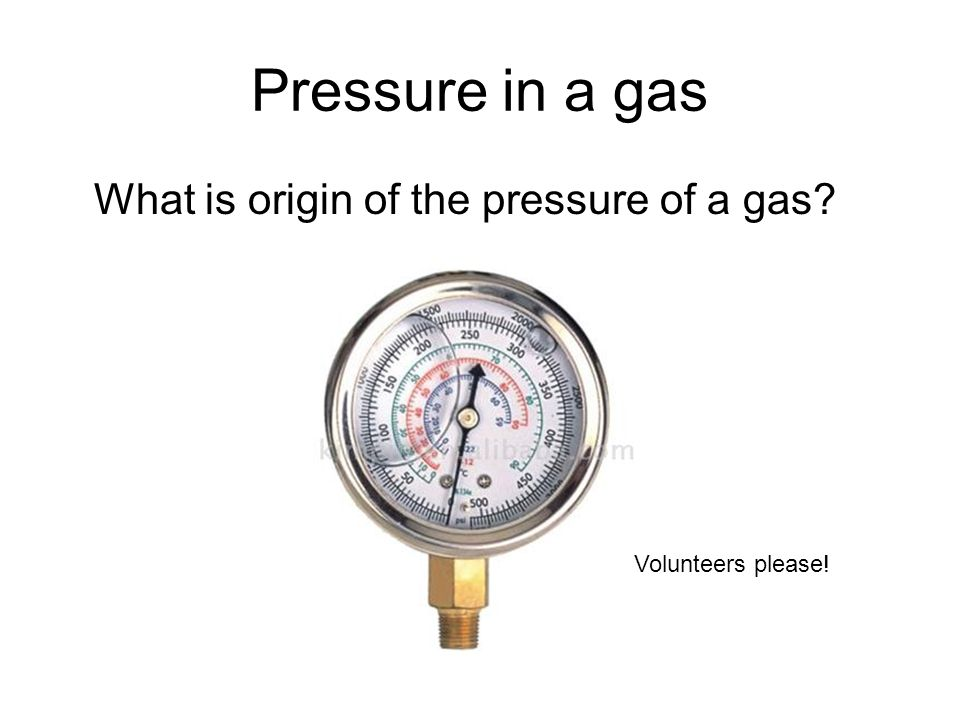 Pressure in a gas What is origin of the pressure of a gas Volunteers please!