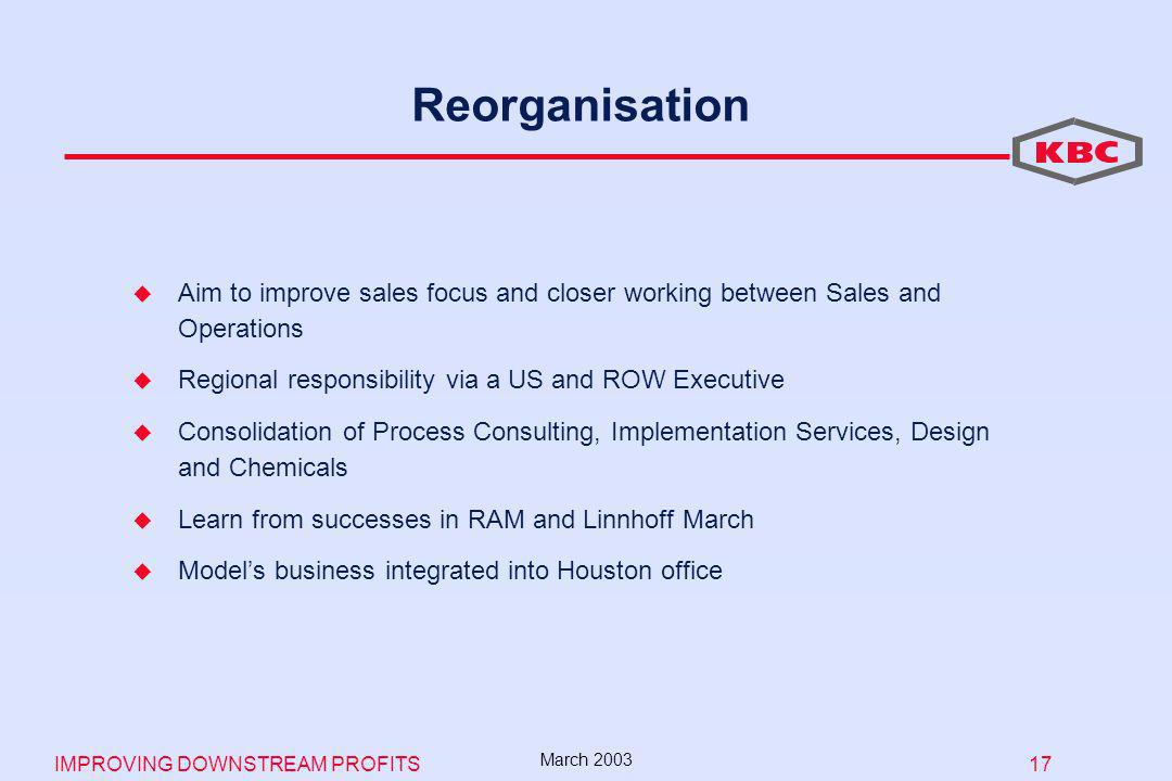 IMPROVING DOWNSTREAM PROFITS 17 March 2003 Reorganisation Aim to improve sales focus and closer working between Sales and Operations Regional responsibility via a US and ROW Executive Consolidation of Process Consulting, Implementation Services, Design and Chemicals Learn from successes in RAM and Linnhoff March Models business integrated into Houston office
