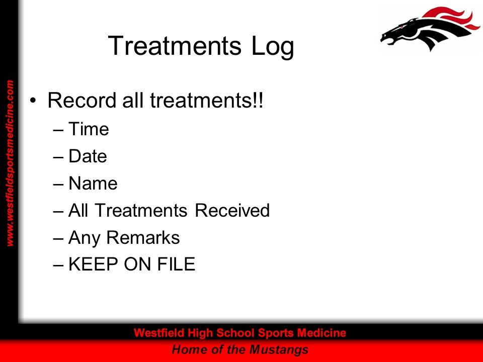 Treatments Log Record all treatments!.