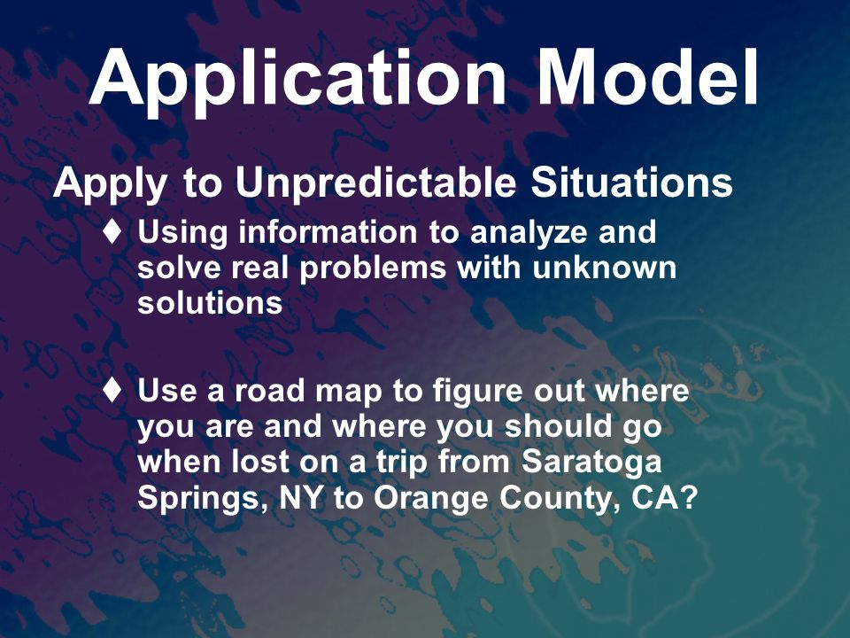 Application Model Apply to Unpredictable Situations Using information to analyze and solve real problems with unknown solutions Use a road map to figure out where you are and where you should go when lost on a trip from Saratoga Springs, NY to Orange County, CA