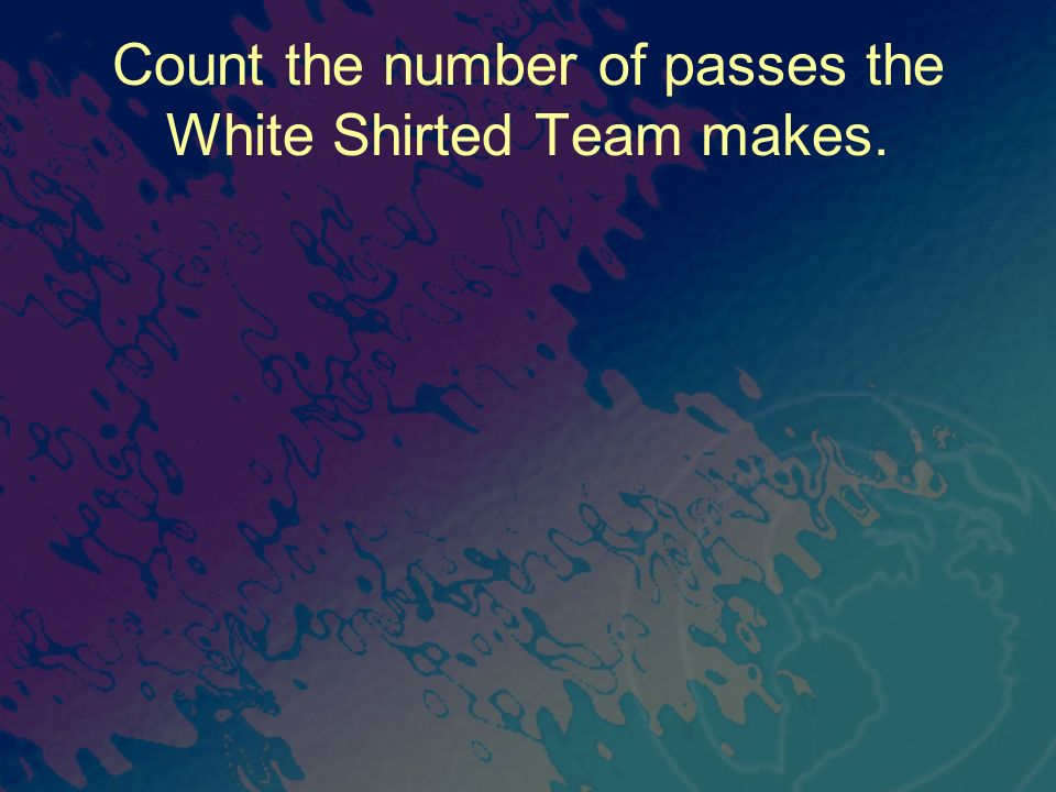 Count the number of passes the White Shirted Team makes.