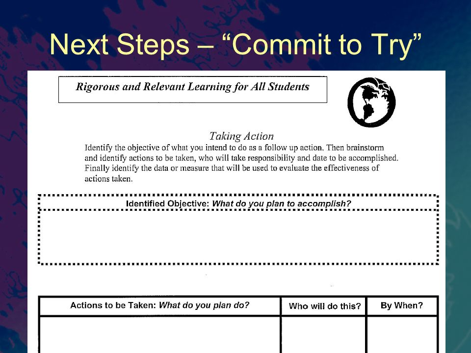 Next Steps – Commit to Try