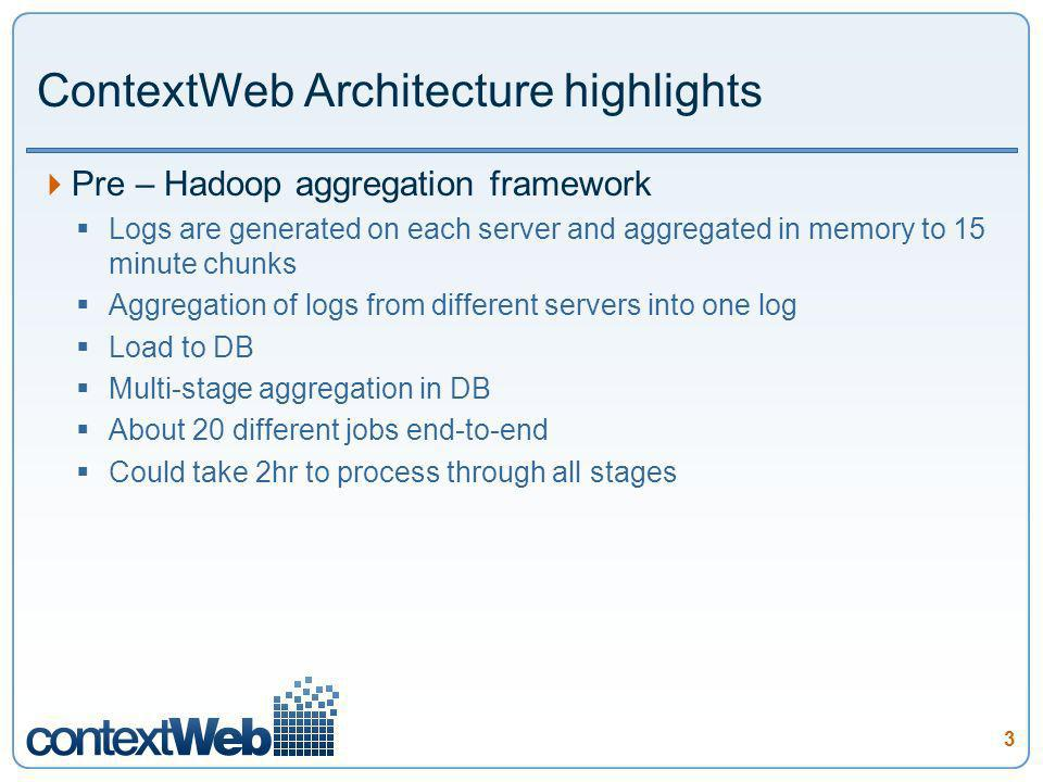 3 ContextWeb Architecture highlights Pre – Hadoop aggregation framework Logs are generated on each server and aggregated in memory to 15 minute chunks Aggregation of logs from different servers into one log Load to DB Multi-stage aggregation in DB About 20 different jobs end-to-end Could take 2hr to process through all stages