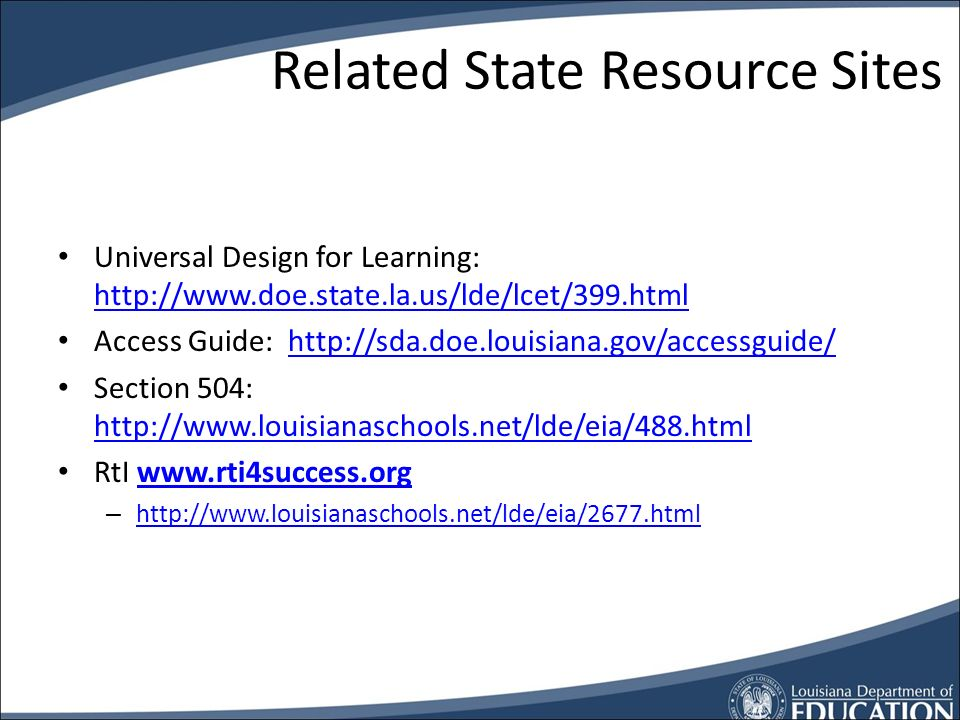 Accessibility References AIM -   – Textbooks -   – LIMC -   Assistive Technology UDL -   Access Guide -   LA Accessibility Ning -   LA Accessibility on Twitter -   UDL Modules by CAST -