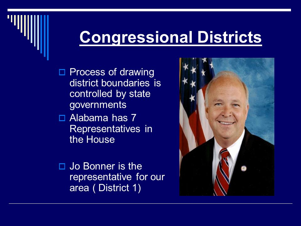Congressional Districts Process of drawing district boundaries is controlled by state governments Alabama has 7 Representatives in the House Jo Bonner is the representative for our area ( District 1)