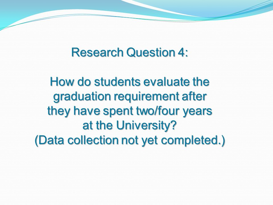 Research Question 4: How do students evaluate the graduation requirement after they have spent two/four years at the University.