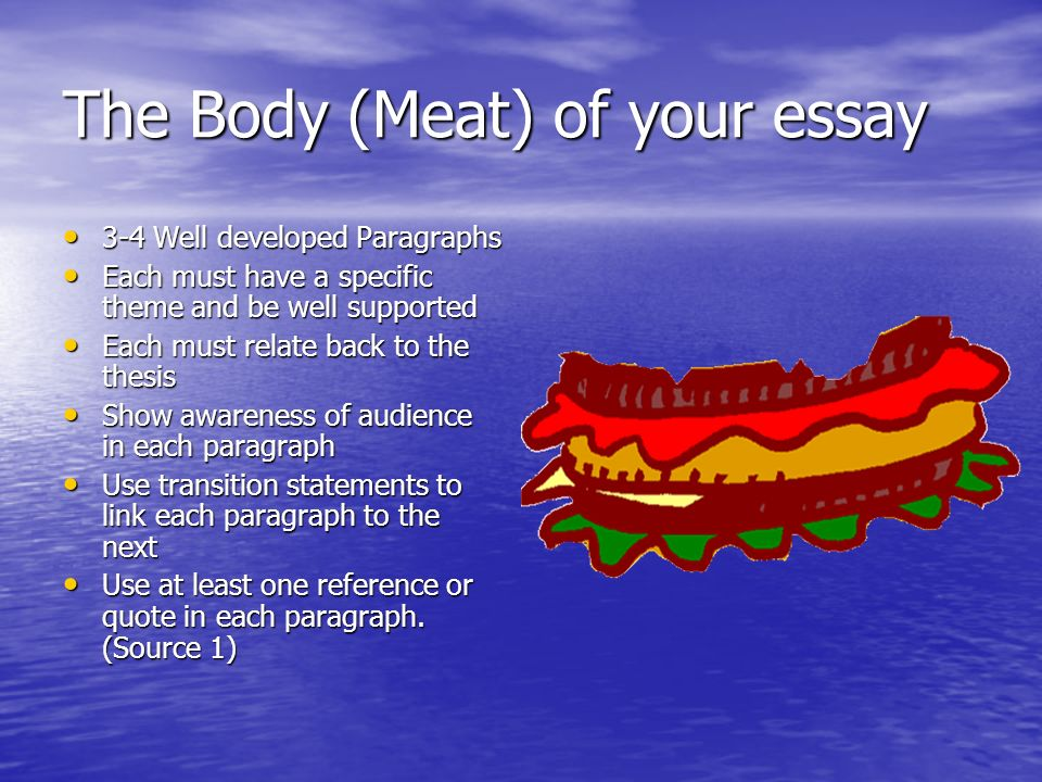 The Body (Meat) of your essay 3-4 Well developed Paragraphs 3-4 Well developed Paragraphs Each must have a specific theme and be well supported Each must have a specific theme and be well supported Each must relate back to the thesis Each must relate back to the thesis Show awareness of audience in each paragraph Show awareness of audience in each paragraph Use transition statements to link each paragraph to the next Use transition statements to link each paragraph to the next Use at least one reference or quote in each paragraph.