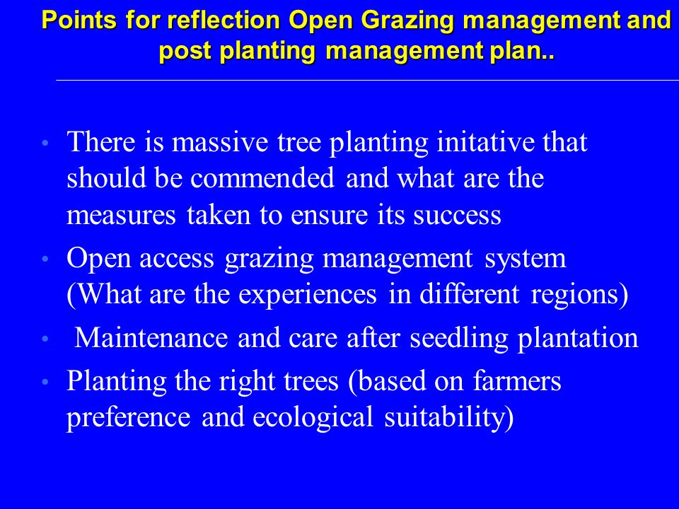 There is massive tree planting initative that should be commended and what are the measures taken to ensure its success Open access grazing management system (What are the experiences in different regions) Maintenance and care after seedling plantation Planting the right trees (based on farmers preference and ecological suitability) Points for reflection Open Grazing management and post planting management plan..