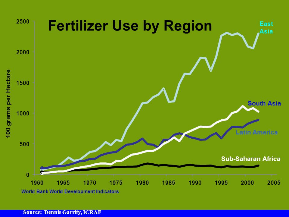 World Bank World Development Indicators grams per Hectare Fertilizer Use by Region Sub-Saharan Africa South Asia Latin America East Asia Source: Dennis Garrity, ICRAF