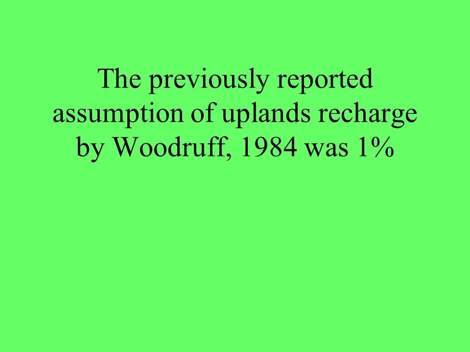 The previously reported assumption of uplands recharge by Woodruff, 1984 was 1%