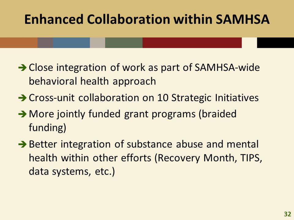 32 Enhanced Collaboration within SAMHSA Close integration of work as part of SAMHSA-wide behavioral health approach Cross-unit collaboration on 10 Strategic Initiatives More jointly funded grant programs (braided funding) Better integration of substance abuse and mental health within other efforts (Recovery Month, TIPS, data systems, etc.)