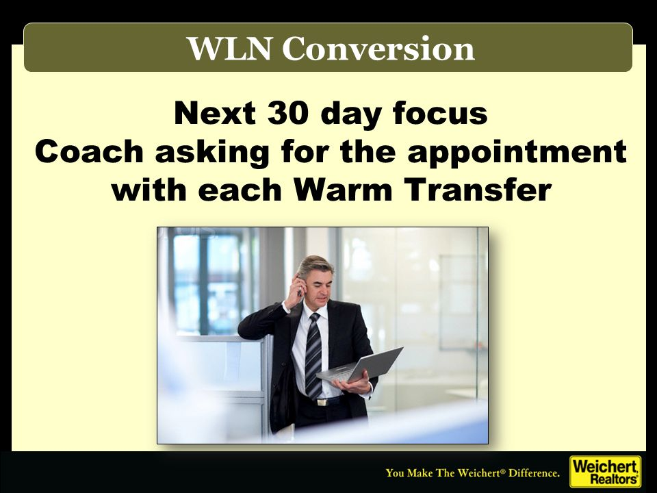 Weicherts Point of Sale WLN Conversion Next 30 day focus Coach asking for the appointment with each Warm Transfer