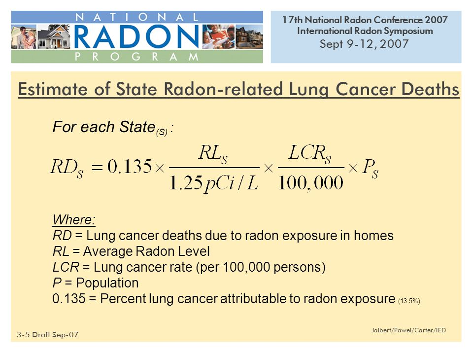 17th National Radon Conference 2007 International Radon Symposium Sept 9-12, 2007 Jalbert/Pawel/Carter/IED For each State (S) : Where: RD = Lung cancer deaths due to radon exposure in homes RL = Average Radon Level LCR = Lung cancer rate (per 100,000 persons) P = Population = Percent lung cancer attributable to radon exposure (13.5%) Estimate of State Radon-related Lung Cancer Deaths 3-5 Draft Sep-07
