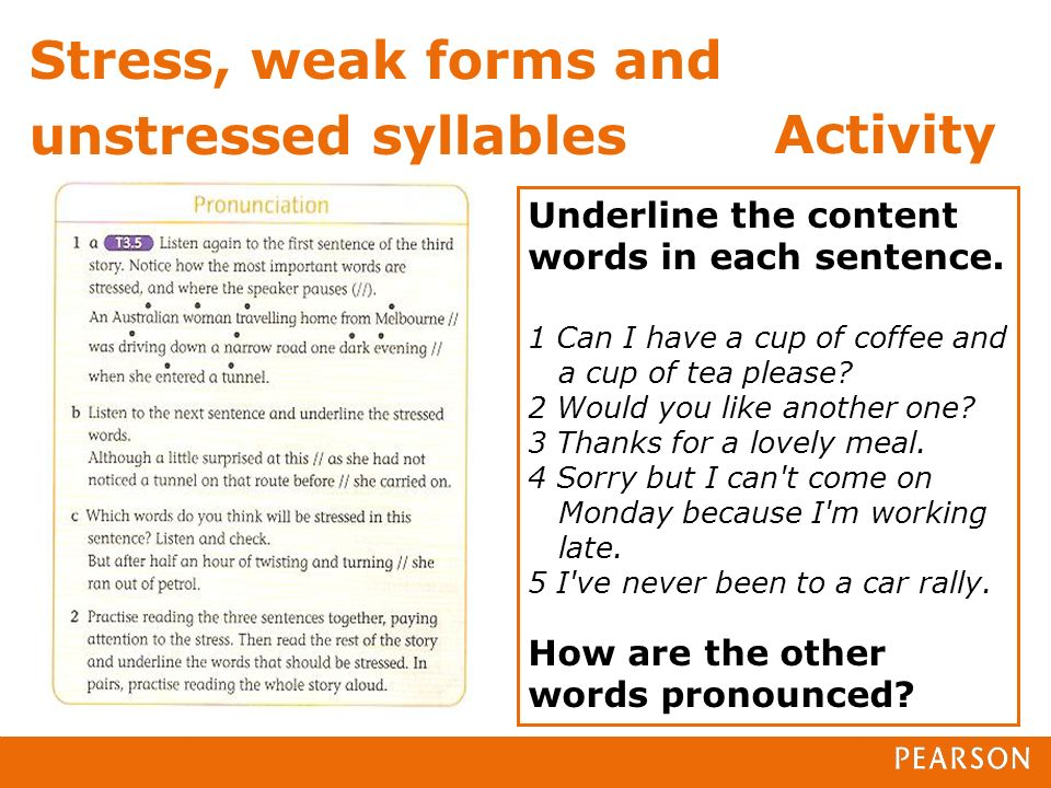 Stress, weak forms and unstressed syllables Underline the content words in each sentence.