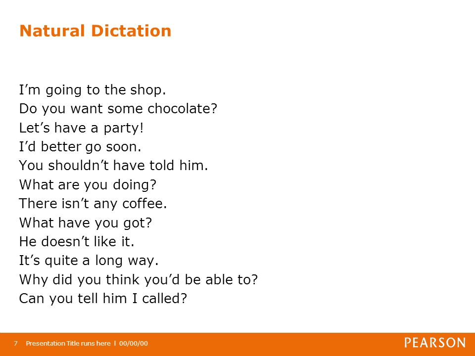 Natural Dictation Im going to the shop. Do you want some chocolate.