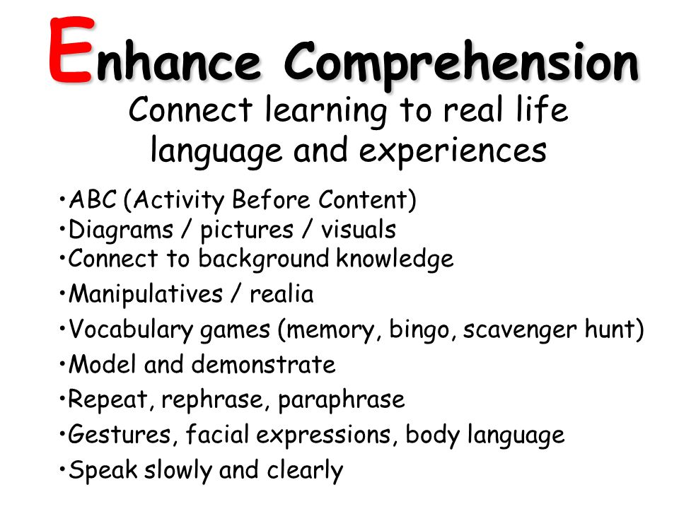 E nhance Comprehension Connect learning to real life language and experiences ABC (Activity Before Content) Diagrams / pictures / visuals Connect to background knowledge Manipulatives / realia Vocabulary games (memory, bingo, scavenger hunt) Model and demonstrate Repeat, rephrase, paraphrase Gestures, facial expressions, body language Speak slowly and clearly