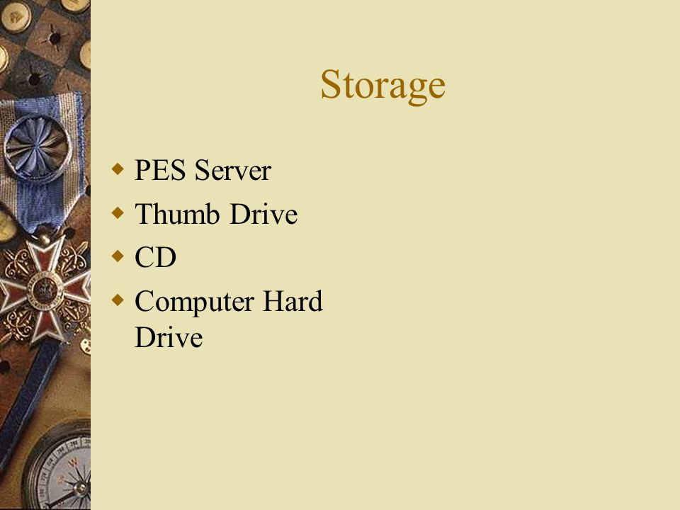 Storage PES Server Thumb Drive CD Computer Hard Drive