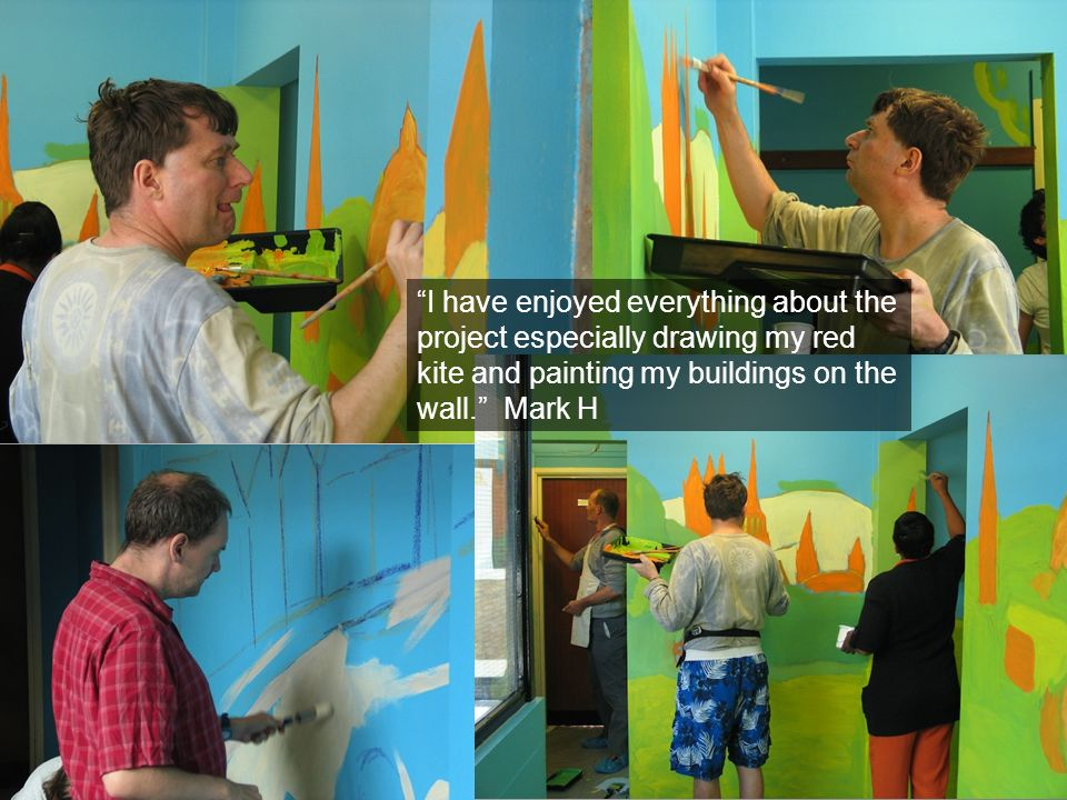 I have enjoyed everything about the project especially drawing my red kite and painting my buildings on the wall.