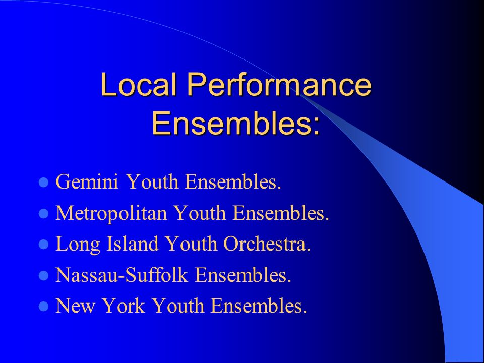 Local Performance Ensembles: Gemini Youth Ensembles.