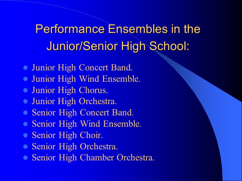 Performance Ensembles in the Junior/Senior High School: Junior High Concert Band.