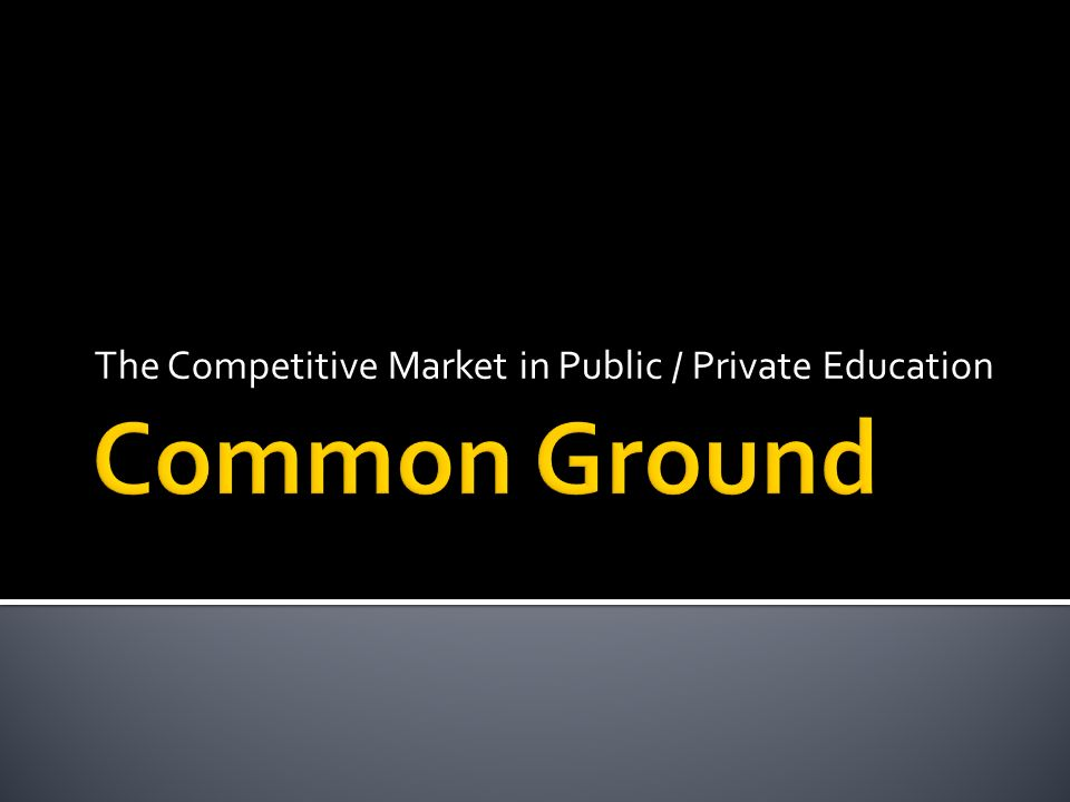 The Competitive Market in Public / Private Education