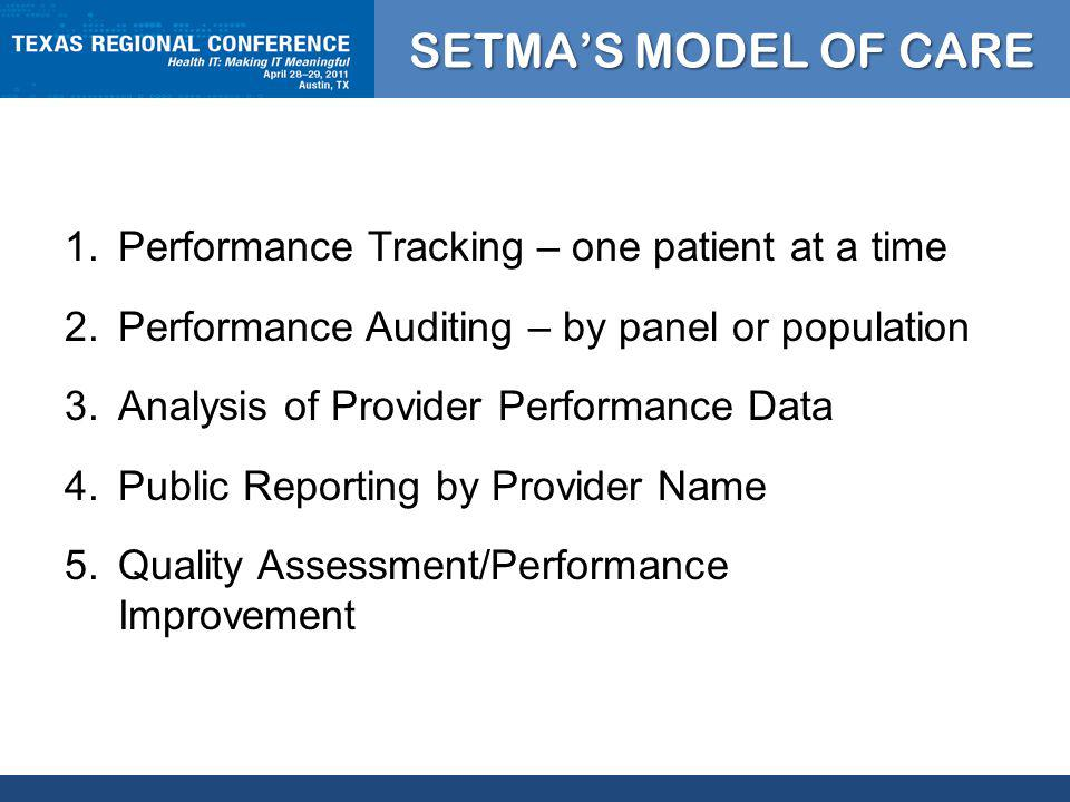 CLICK TO EDIT MASTER TITLE STYLE SETMAS MODEL OF CARE 1.Performance Tracking – one patient at a time 2.Performance Auditing – by panel or population 3.Analysis of Provider Performance Data 4.Public Reporting by Provider Name 5.Quality Assessment/Performance Improvement