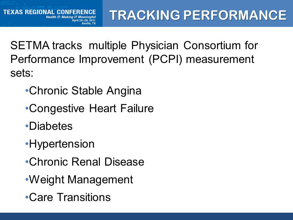 CLICK TO EDIT MASTER TITLE STYLE TRACKING PERFORMANCE SETMA tracks multiple Physician Consortium for Performance Improvement (PCPI) measurement sets: Chronic Stable Angina Congestive Heart Failure Diabetes Hypertension Chronic Renal Disease Weight Management Care Transitions