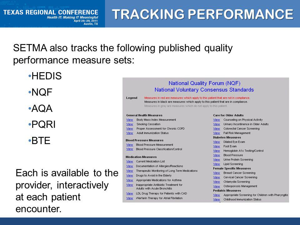 CLICK TO EDIT MASTER TITLE STYLE SETMA also tracks the following published quality performance measure sets: HEDIS NQF AQA PQRI BTE Each is available to the provider, interactively at each patient encounter.
