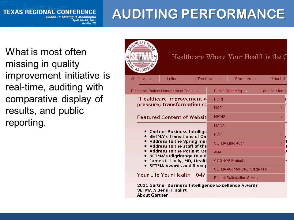 CLICK TO EDIT MASTER TITLE STYLE What is most often missing in quality improvement initiative is real-time, auditing with comparative display of results, and public reporting.