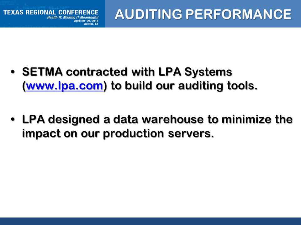 CLICK TO EDIT MASTER TITLE STYLE SETMA contracted with LPA Systems (  to build our auditing tools.SETMA contracted with LPA Systems (  to build our auditing tools.  LPA designed a data warehouse to minimize the impact on our production servers.LPA designed a data warehouse to minimize the impact on our production servers.