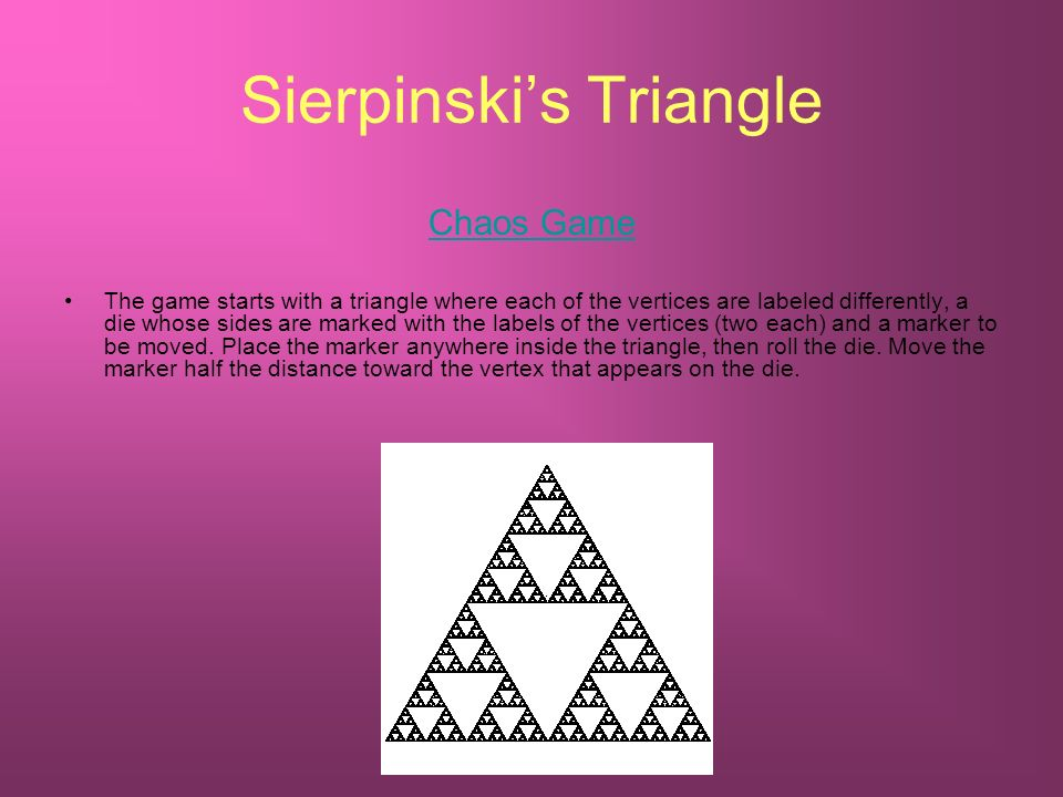 Sierpinskis Triangle Chaos Game The game starts with a triangle where each of the vertices are labeled differently, a die whose sides are marked with the labels of the vertices (two each) and a marker to be moved.
