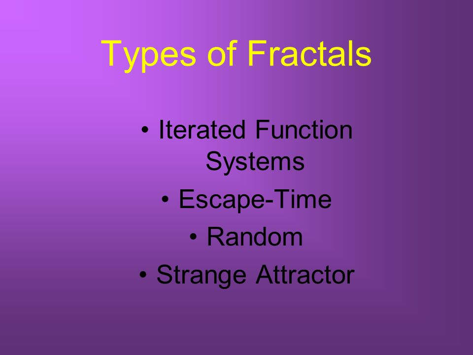Types of Fractals Iterated Function Systems Escape-Time Random Strange Attractor