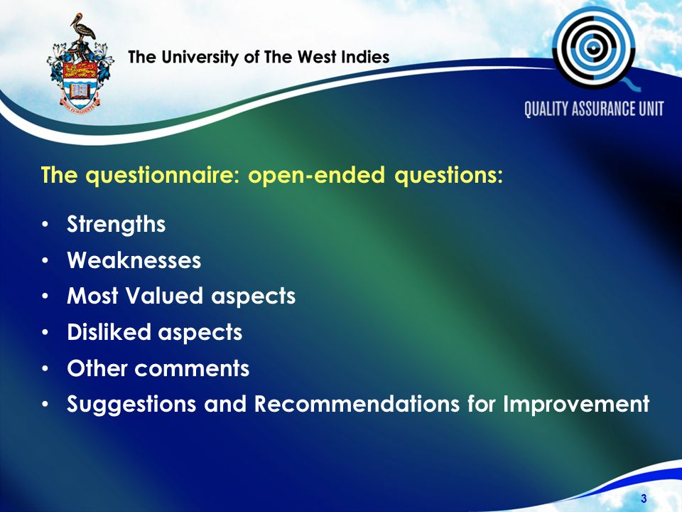 The questionnaire: open-ended questions: Strengths Weaknesses Most Valued aspects Disliked aspects Other comments Suggestions and Recommendations for Improvement 3