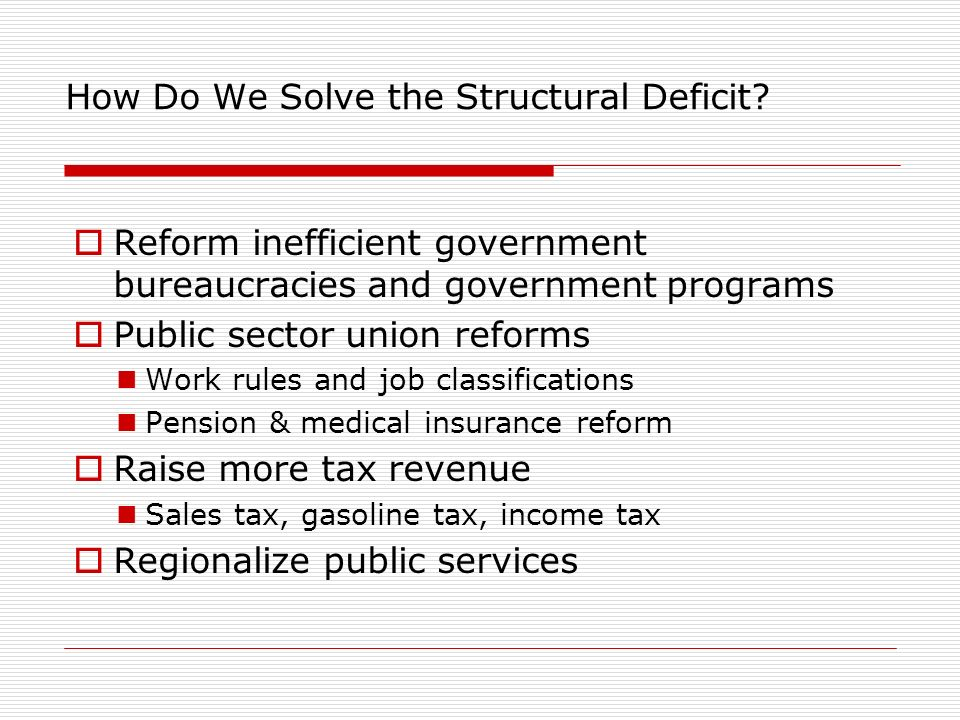 How Do We Solve the Structural Deficit.