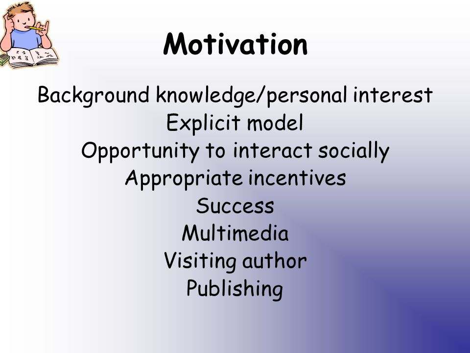 Motivation Background knowledge/personal interest Explicit model Opportunity to interact socially Appropriate incentives Success Multimedia Visiting author Publishing