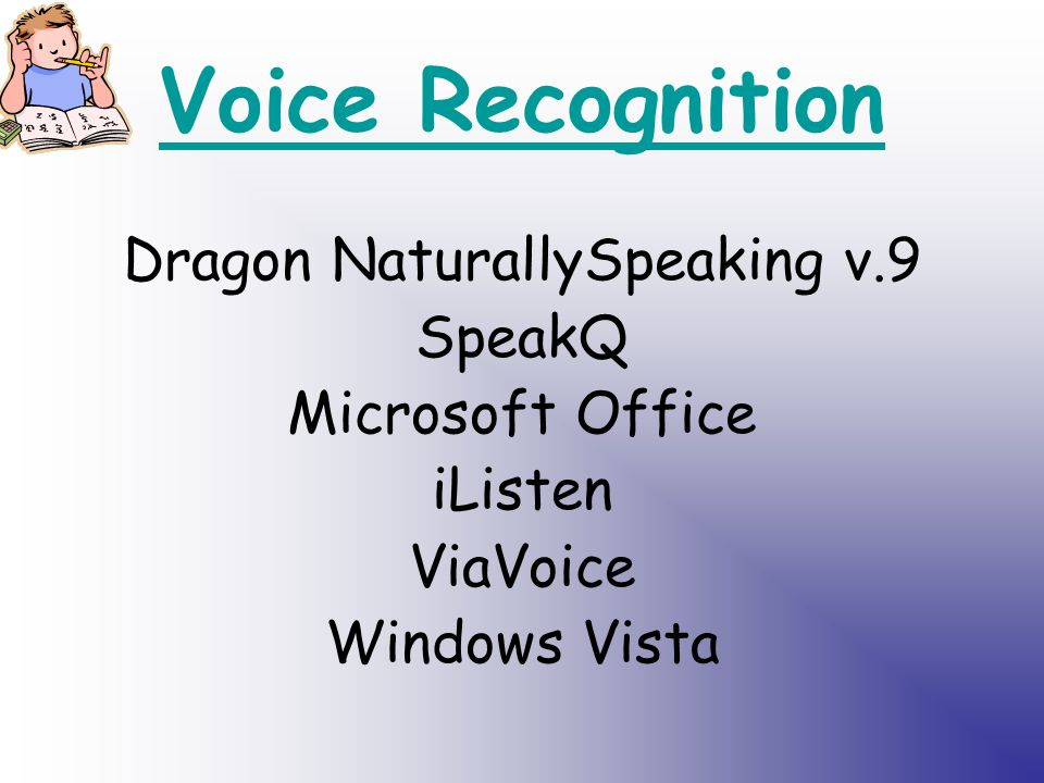 Voice Recognition Dragon NaturallySpeaking v.9 SpeakQ Microsoft Office iListen ViaVoice Windows Vista